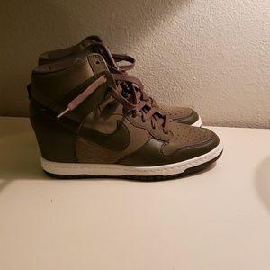 Nike Women's Dunk Sky Hi Suede Wedge Sneakers Dark